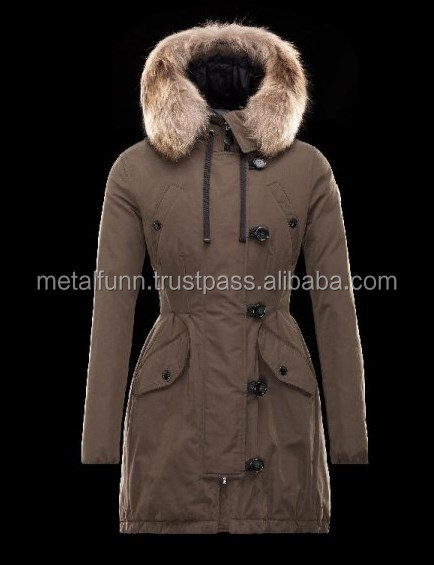 Turtleneck Detachable Fur Collar Military green Parka Polyester/Cotton/Racoon Womens / Sexy Hot Long Coat Fur Hoody Hot Body