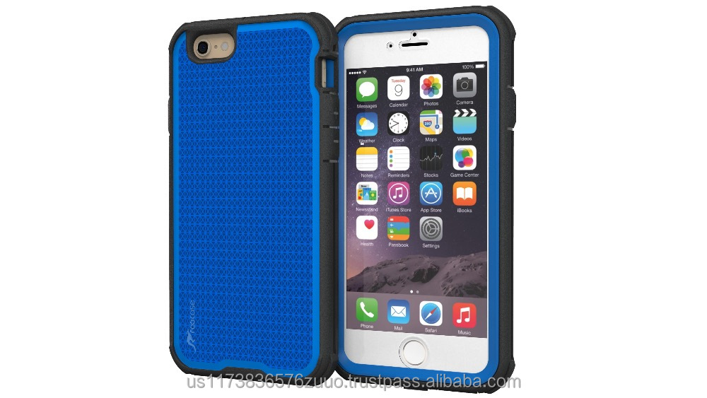 Rugged Armor Full Body Tough hybrid dual layer case for iPhone 6 6s 4.7 Drop protection and impact-resistance roocase (blue)
