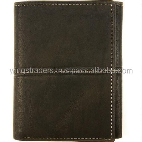 Trifold Design Genuine Leather With Clear ID Window And 6 card Slots1