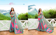 Digital Floral Geometric Printed Georgette Fabric Fancy Lace Border Saree In Surat