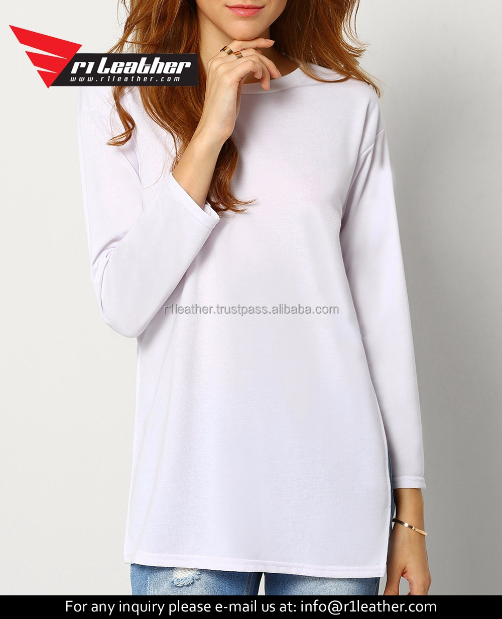 Fast delivery Regular fit long sleeves plain t-shirts wholesale blank t shirts woman apparel digital printing