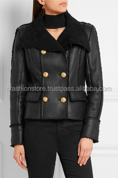 LWFJ-804 Double-breasted shearling biker jacket