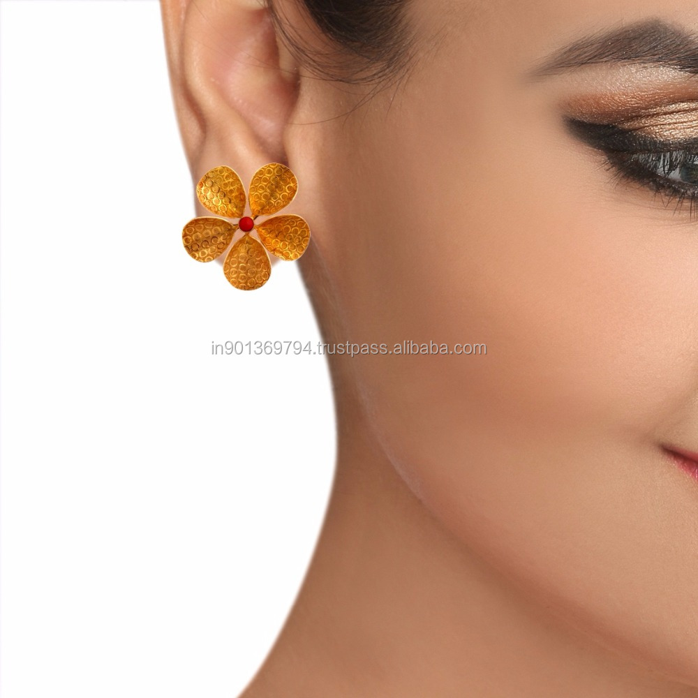 Small Golden Coral Stone Color Gold Plated Daily Wear College Stylish Simple Flower Shaped Tops Earrings