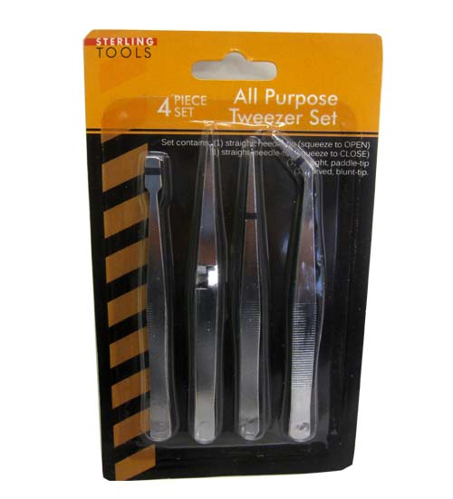 4pk Stainless Steel Tweezers