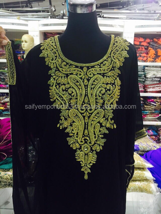 Crystal Gold Design With Back Bhutta Unique Islamic Dubai Farasha Kaftan For European Beauty