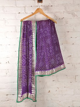 Beautiful stylish Purple Zari Bandhani Georgette Bandhani Saree gota patti work