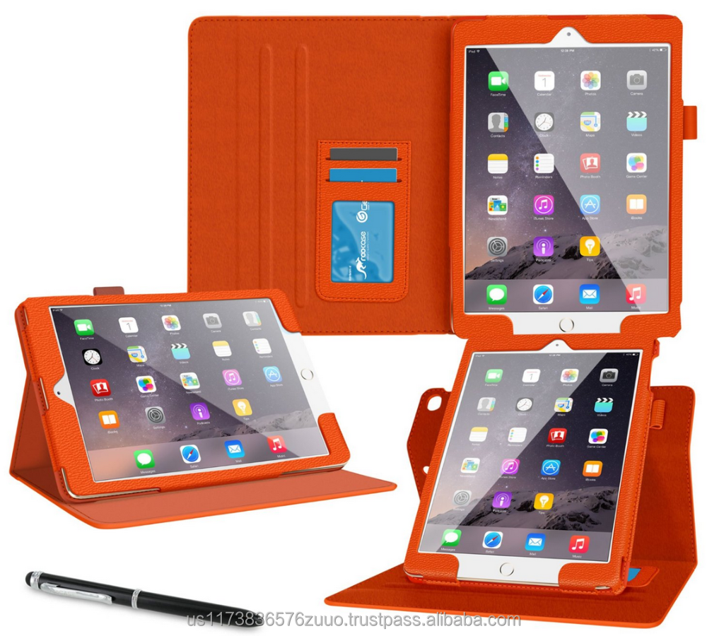 Dual View Slim Premium PU Leather Folio Case, Smart Cover Auto Sleep/Wake; Detachable inner sleeve for iPad Air 2 roocase orange