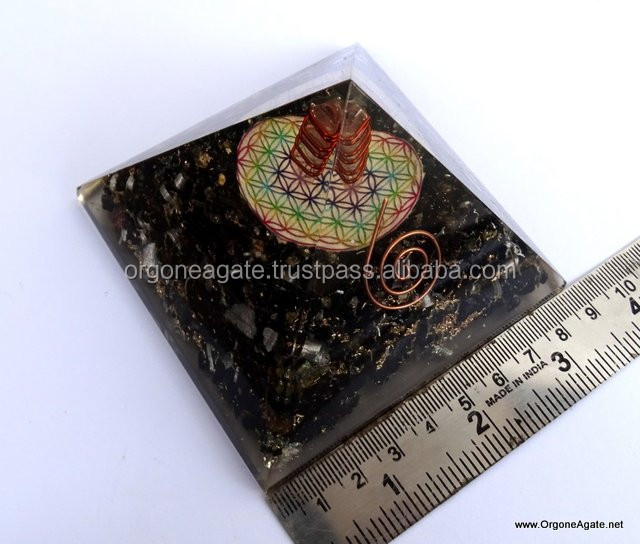 Reiki Pyramid | Big Orgone Energy Black Tourmaline Pyramid With Flower Of Life Symbol With Crystal Point