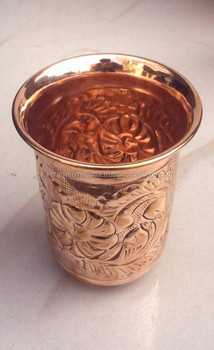 NICELY EMBOSSED HAND 100% PURE COPPER CUP TUMBLER FOR WATER, BEER, MOSCOW MULE, VODKA