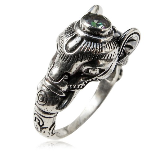 Extreme Charm Mystic Topaz Gemstone Elephant 925 Sterling Silver Ring, Fashion Silver Jewelry, Wholesale Silver Jewellery
