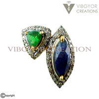 Designer sapphire emerald pave diamond 925 sterling silver ring wedding jewelry ring