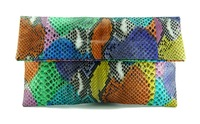 Multicolored python leather classic foldover clutch