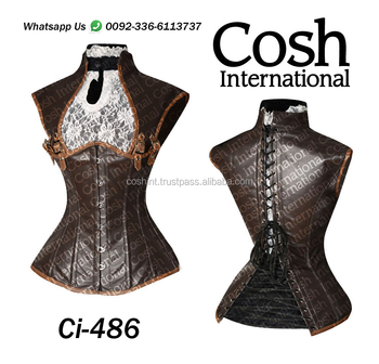 Ci-486 Brown Leather Waist Training Corset Supplier