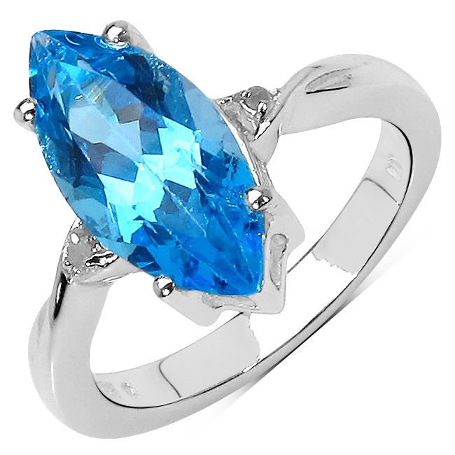 3.67 Carat Genuine Swiss Blue Topaz & White Diamond .925 Sterling Silver Ring