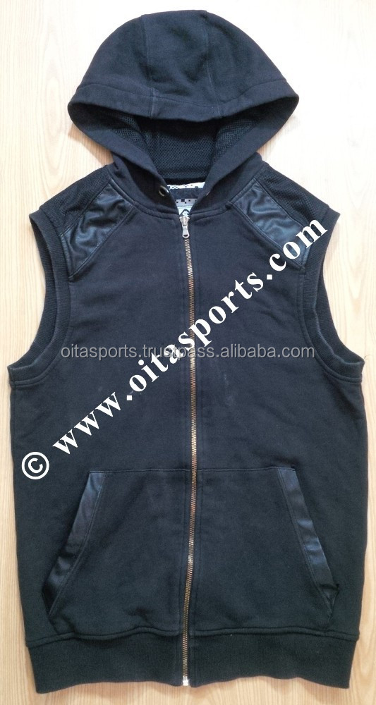80% cotton 20% polyester (fleece) black OEM custom zipper up sleeveless gym hoodie with genuine leather panels