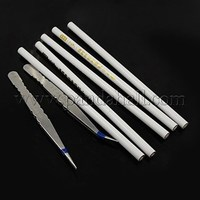 DIY Jewelry Tool Sets, 5 Pcs Rhinestone Picking Pencils and 2 Pcs Stainless Steel Beading Tweezers, Platinum, 130~180x8~10mm