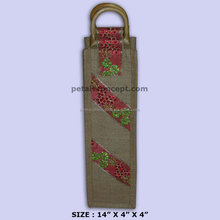 Screen printing jute recyclable wine bottle carry bag with wooden D shape cane handle