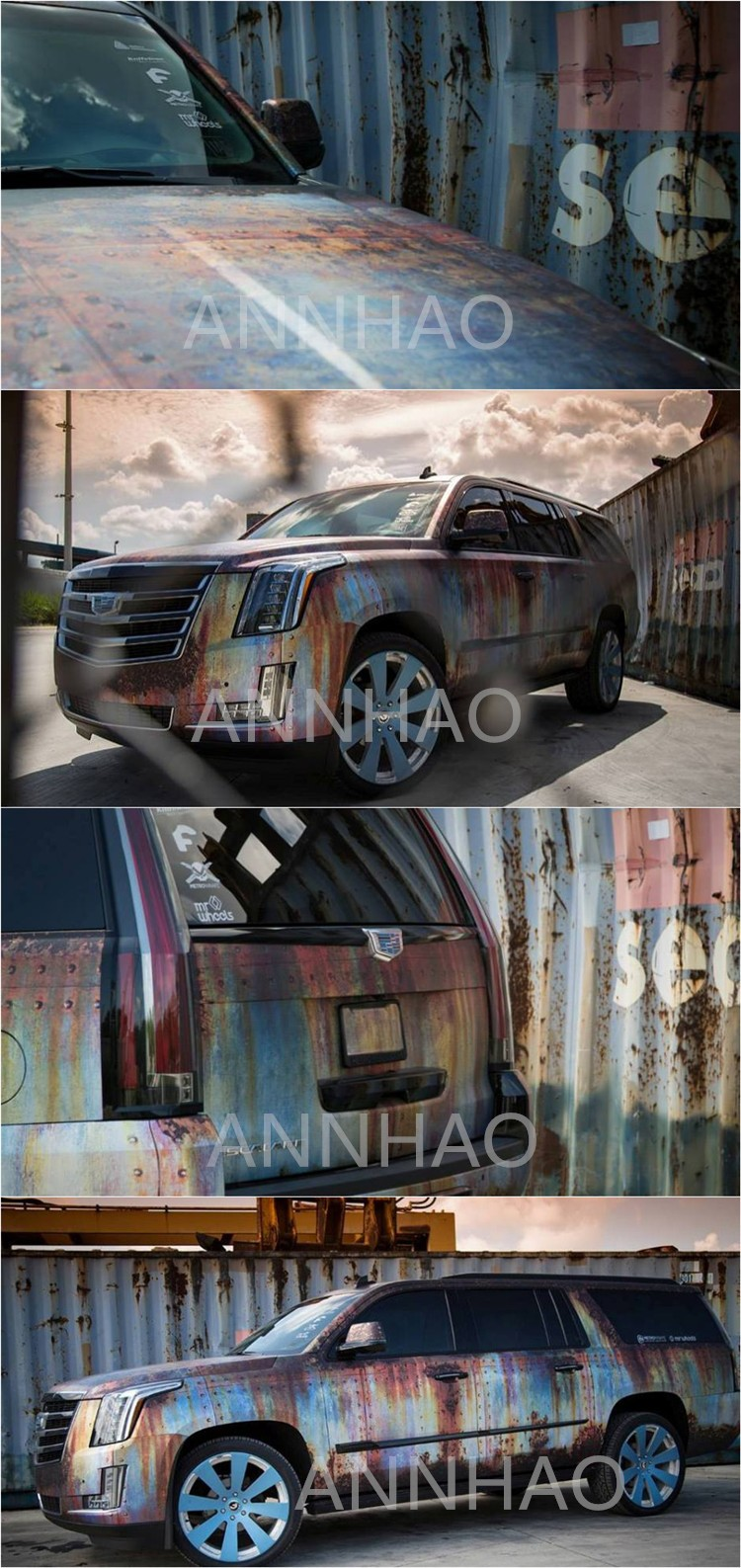 Hot Sale 152 X 30M Waterproof PVC Film Rust Color Car Rusty Look Vinyl Wrapping