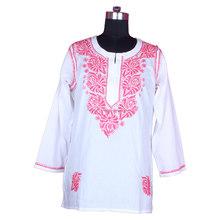 DR158 Chicken Embroidered Kurta Casual Wear Kurti Cotton Indian Tunic Size S, M, L, XL, XXL
