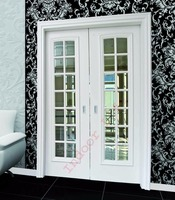 Karan 14-Glass 2-Leaf White Lacquer Pocket Door