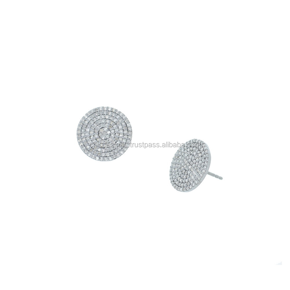 Pave Diamond Round Disc Tops Earrings, Latest Design Diamond Earrings, Sterling Silver 925 Jewelry
