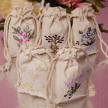 customized cotton muslin drawstring bag
