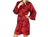 Indian Satin Silk Kimono Short Bathrobe Women Sexy Nighty Intmates dress manufacturer