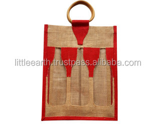 6 Bottle food grade jute wine bag