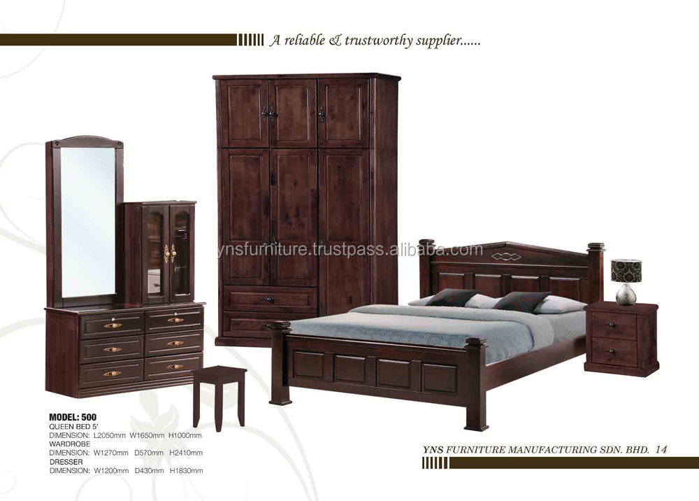 Elegant Classic cappuccino Solid wooden Bedroom set & wardrobe closets cabinet & night stand & dresser & chest of drawer 500