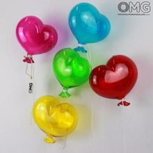 5 Heart Original Murano Glass Balloons - to Hang as Decorations - Clear Gloss Glass