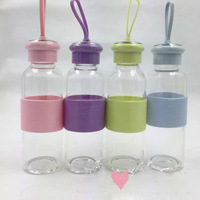 Portable glass water bottle/glass bottle silicone sleeve/borosilicate glass bottle