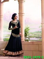 Indian Model Rakul Preet Georgette Black Coloured Partywear Salwar Kameez