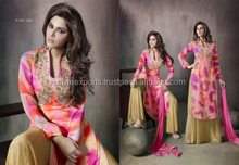 Sincere Peach Georgette Palazzo Churidar Suit/churidar suits for women