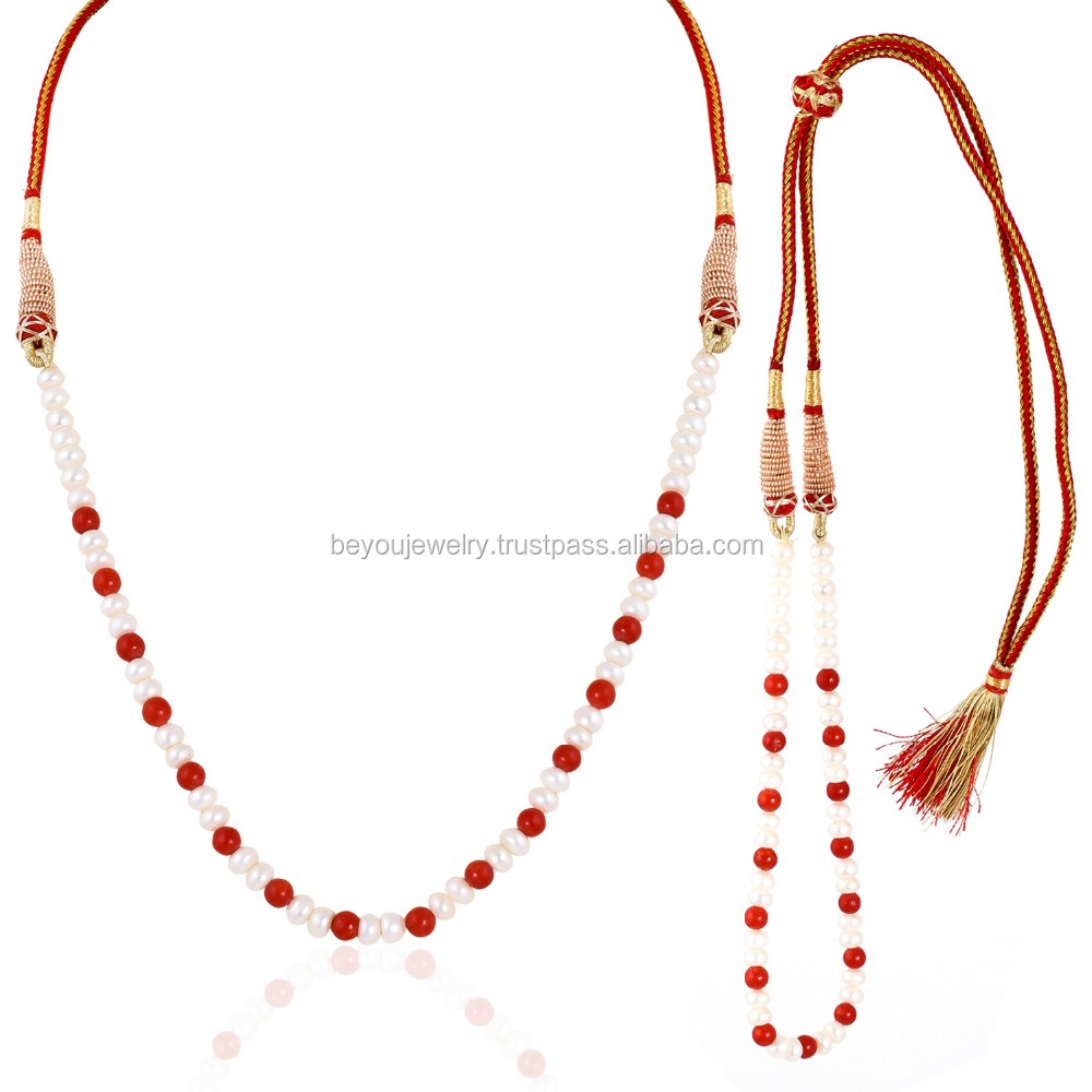 Be You White and Orangey Red Color Chinese Fresh Water Pearl and Coral Plain Rondelle Shape Beads 1 Line Necklace