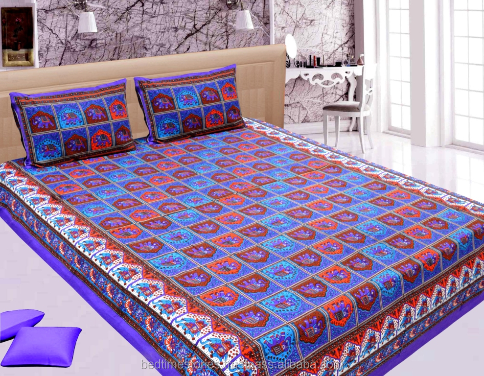 Traditional bright colored kantha look cotton bedsheets wtih matching pillow cover