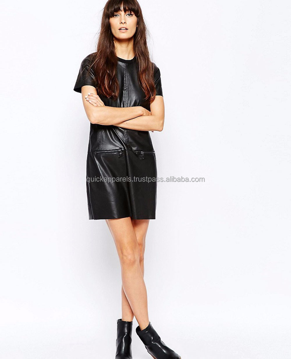 Latest Wholesale Unique Genuine Leather Sleeveless V-neck Dinner Dress