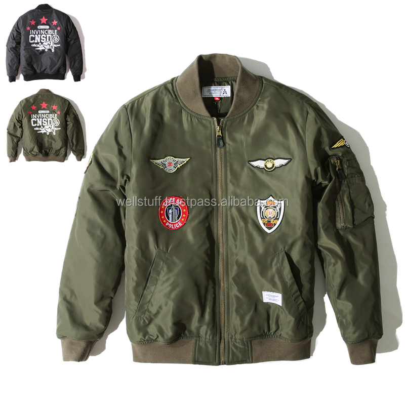 Apollo 11 NASA MA-1 Bomber Jacket/ Bape All Camo Leather Patch Flight Bomber Jacket by A Bathing Ape Japan sz Large