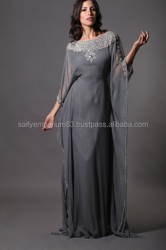 Porpoise Grey Colour With Hand Work Beautifull Abaya