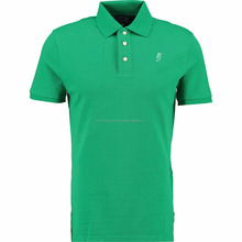 Fresh Green Cotton Polo Shirt with Fitted cuffs and Split step hem, same color tipping