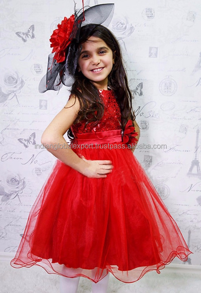 Sequined Party Dress - Red for kids