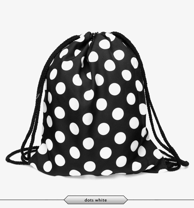 FactorytoShop (UK) Provider of Wholesale and Dropshipper Services Stylish String Simple Backpack - Black White Polka Dot