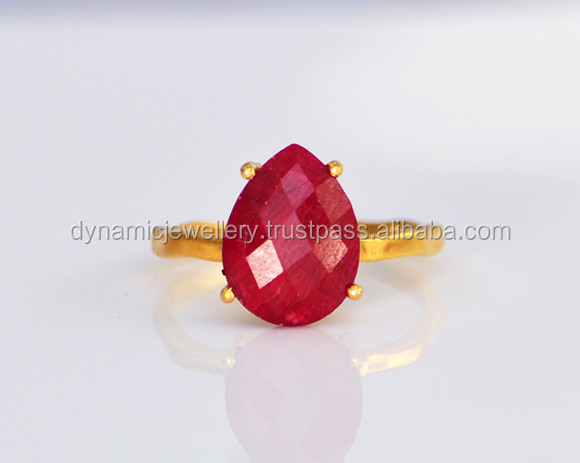 2015 wholesale jewellery fashion 925 sterling silver gold plated Ruby ring DJR016