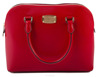 Michael Kors Cindy Medium Dome Leather Satchel - Red