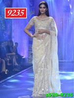 Indian Model Sonam Kapoor White Coloured Net Designer Saree