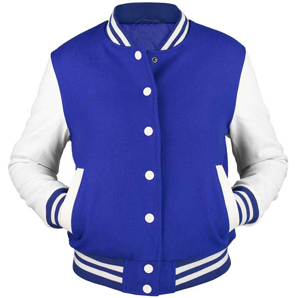 Hito Elegant Beautiful Ladies Blue Fleece Body | Black Sleeves Classic Letterman | Girls Baseball Varsity Jackets VJ-0311