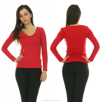 Basic V Neck Long Sleeve Fitted Womens Solid Top Plain T Shirt