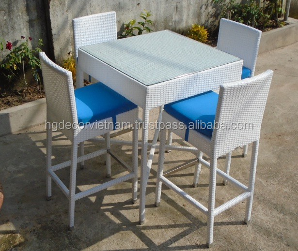 Elegant poly rattan bar set with cushion, outdoor set for restaurant, hotel, family, 2017 design