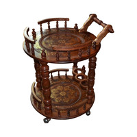 Luxury Tea Trolley , Carved Fancy Traditional Tea Trolley , Wooden Tea Trolley , Wooden Tea Cart ,