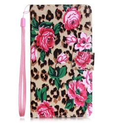 Wholesale Case for Huwei P9 Lite, PU Leather Stand Case with Wrist Strap for Huawei P9 Lite - Leopard Pattern and Flowers