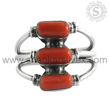 Shining ! Red Coral 925 Sterling Silver Jewelry Ring, Indian Silver Jewellery, Gemstone Silver Jewelry Supplier